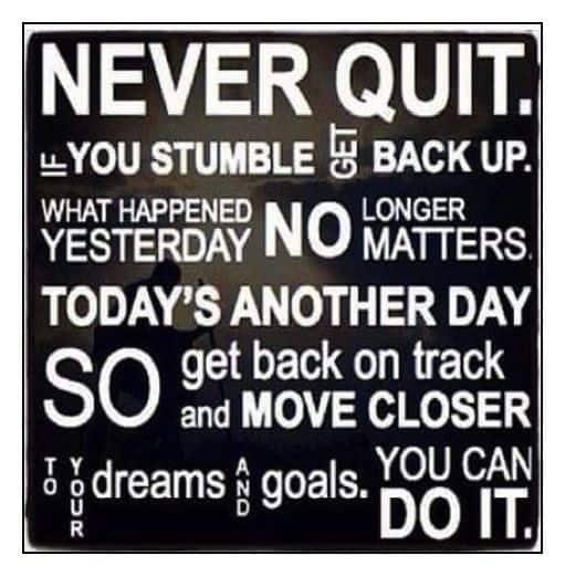 Sign with several different Never Quit sayings.