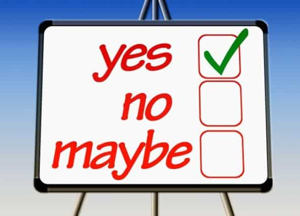 Flipchart with 3 options to check: yes, no, maybe