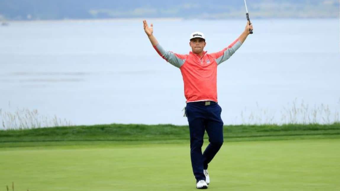 Golfer celebrating win