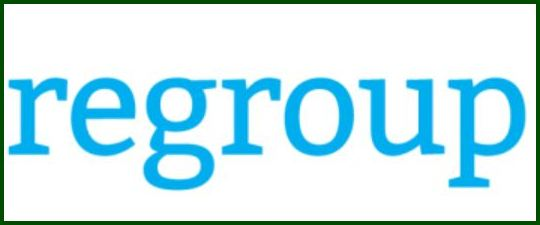 """Regroup"" in green letters on white background."